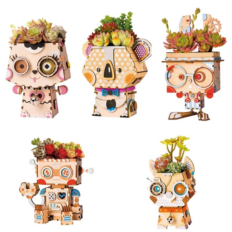 Robotime 5 Types Children Adult Cute Animal Robot Flower Pot 3D Wooden Puzzle Game Educational Models & Building Kits Toy FT