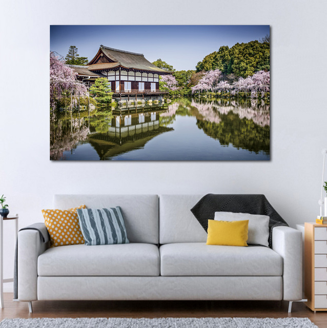 Living Room Art Decor Clearance Furniture Beautiful Landscape Japan Kyoto Garden Lake Home Wall Decoration Wood Frame Fabric Poster Print Ex470