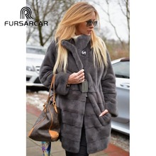 FURSARCAR Real Mink Fur Coat Women Winter 80 CM Long Natural Female With Stand Collar Luxury Jacket