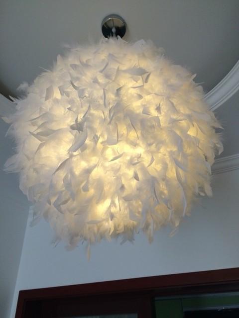 Slaapkamer foyer met led lamp pluim gevederte stijlvolle opknoping ...