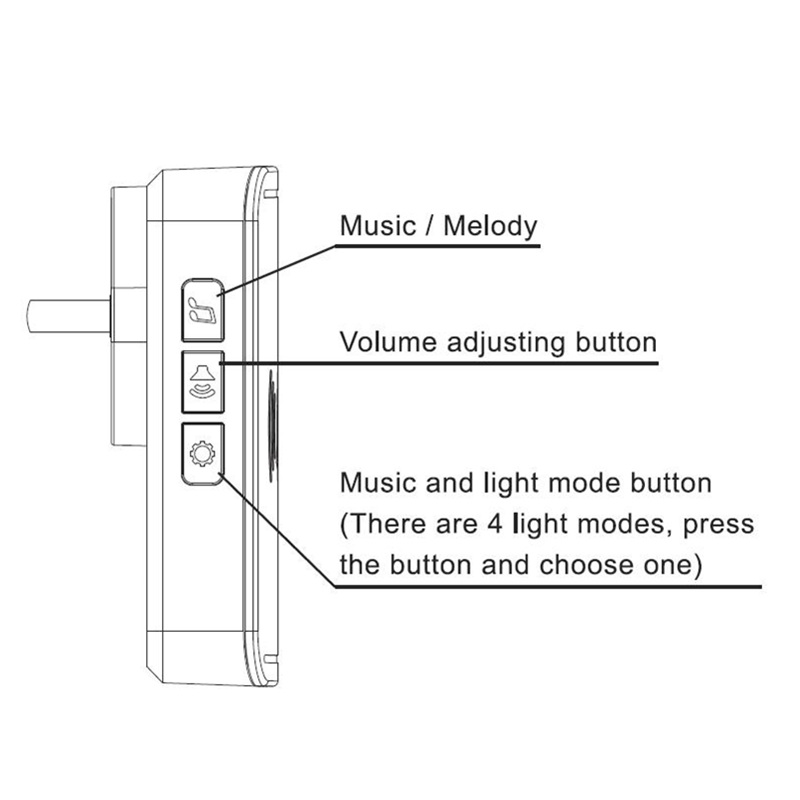 Image 3 - QIACHIP Self powered Home Waterproof Wireless Doorbell No Battery LED Light 200M Home Bell 38 Melodies 4 Levels Volume Door Bell-in Doorbell from Security & Protection