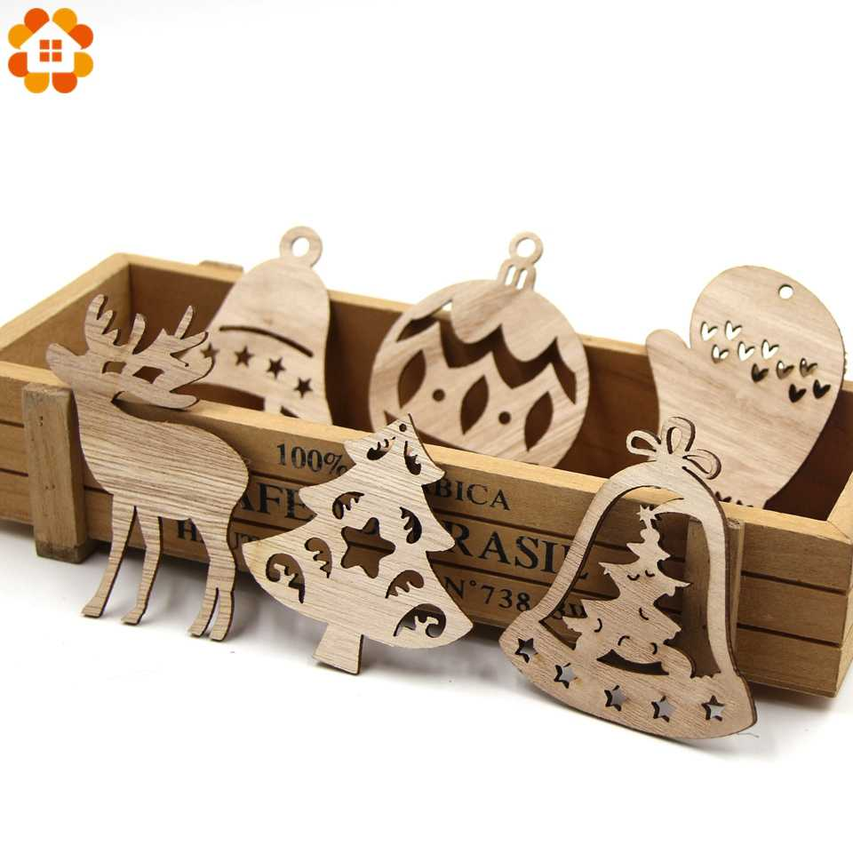 10PCS DIY Christmas Snowflakes&Deer&Tree Wooden Pendant Ornaments For Christmas Party Xmas Tree Ornaments Kids Gifts Decorations