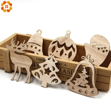 10PCS DIY Christmas Snowflakes&Deer&Tree Wooden Pendant Ornaments For Party Xmas Tree Kids Gifts Decorations