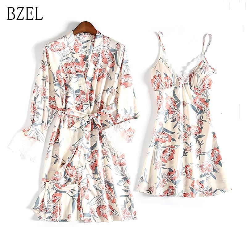 BZEL New Satin Bathrobe Women 2 Pcs Robe & Gown Sets V-neck Floral Printed Robe+Sundress Summer Homewear Robe Female Pajamas Set