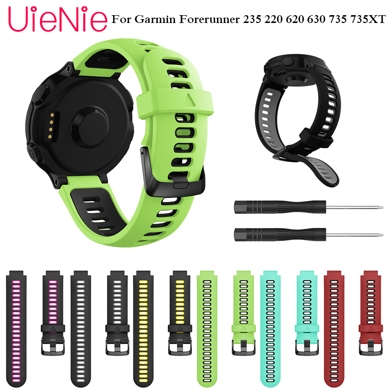Soft Silicone Strap with replacement tool connector wristband for Garmin Forerunner 235 220 620 630 735 735XT smart watch Band