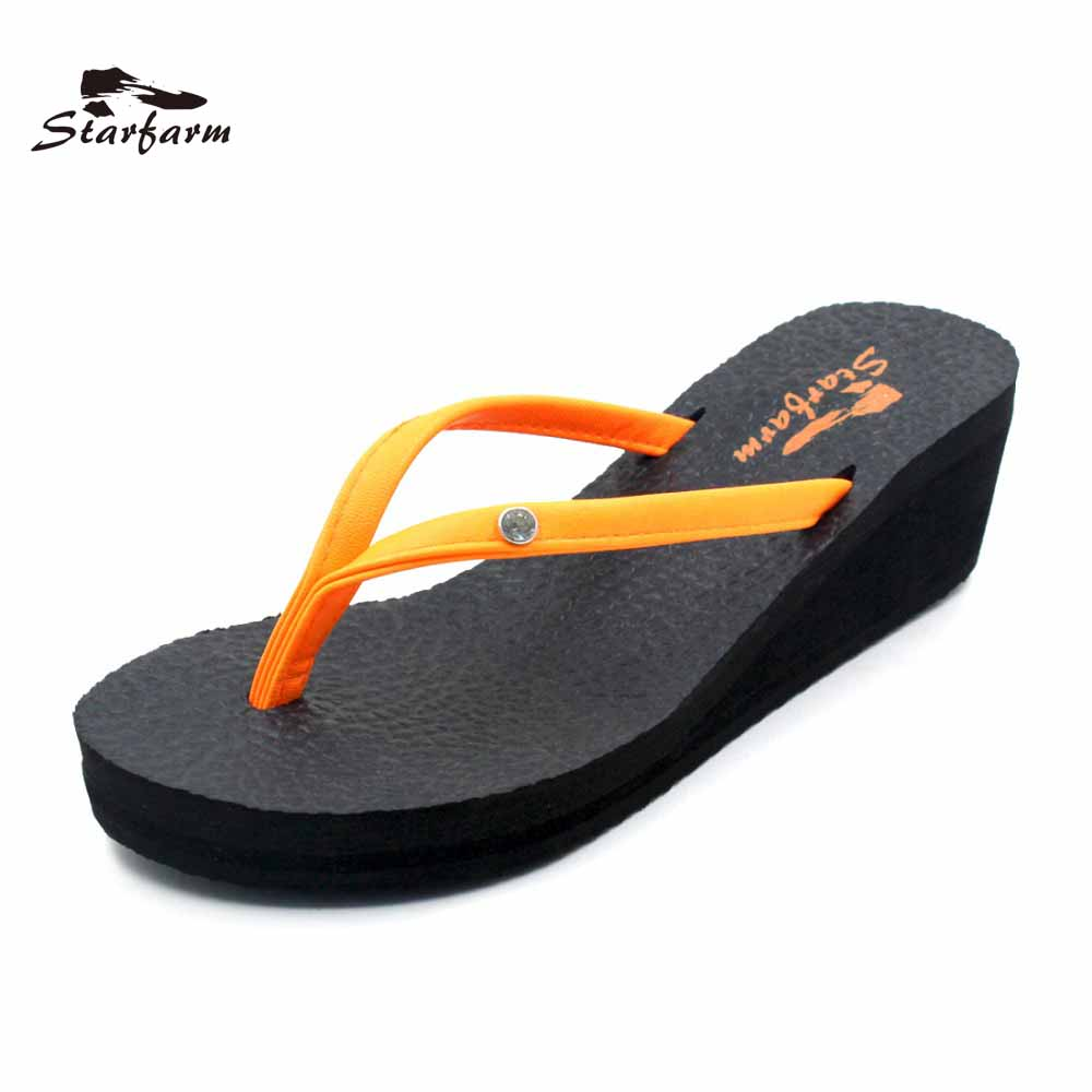 STARFARM Platform Wedge Sandals Orange Strap Slides Women Beach Sandal Summer