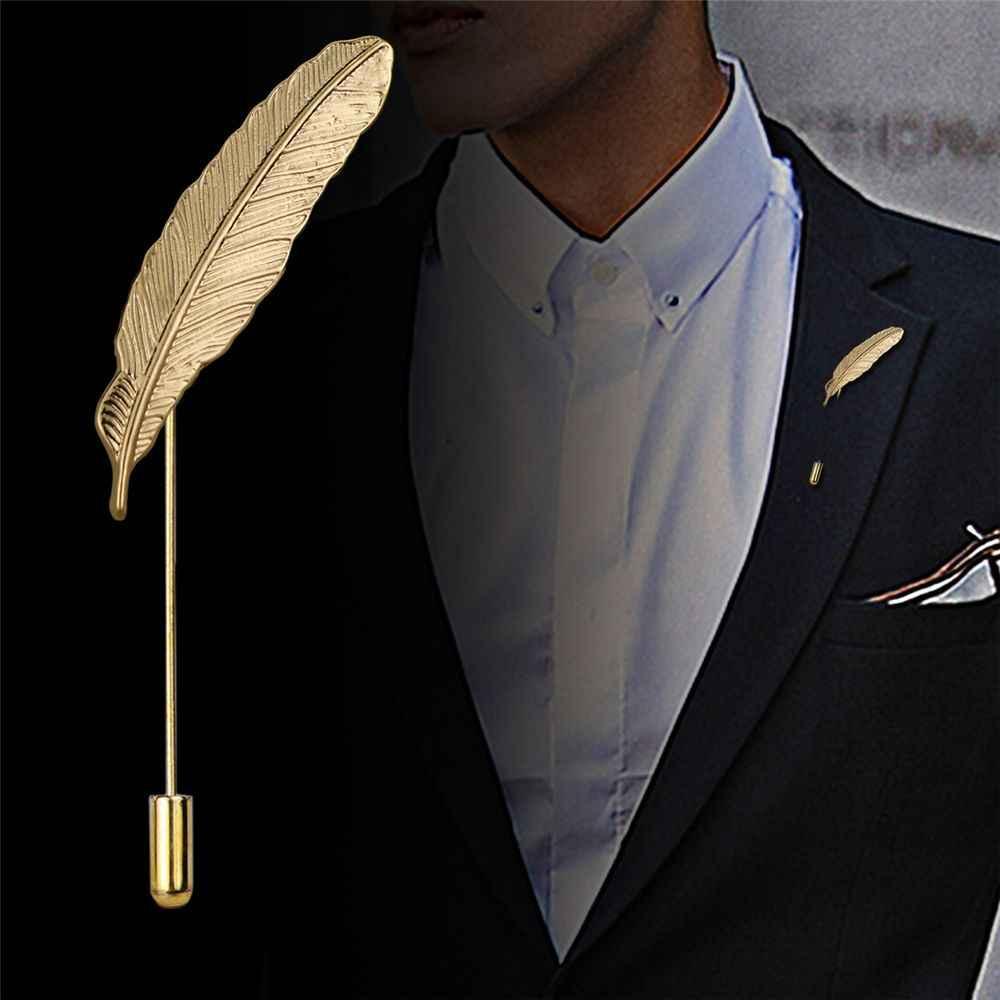 1pcレトロスタイルのメンズのスーツ葉ブローチウェディングショールピンラペルコサージュ襟ブートニエールスティックスーツブローチ