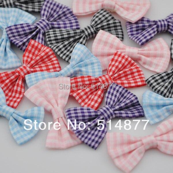 200pcs U Pick font b Tartan b font plaid Ribbon Bows flower Appliques craft Lots mix
