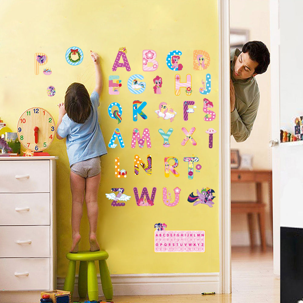 cartoon wall stickers for kids rooms alphabet letters wall decals ...