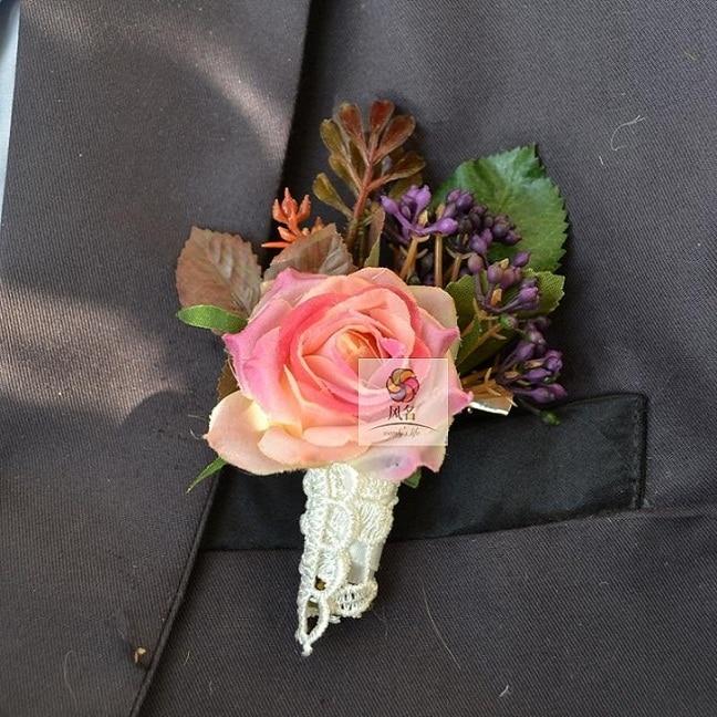 Rhinestone Flower Groom Corsage Best Man Wedding Prom Party Boutonnieres