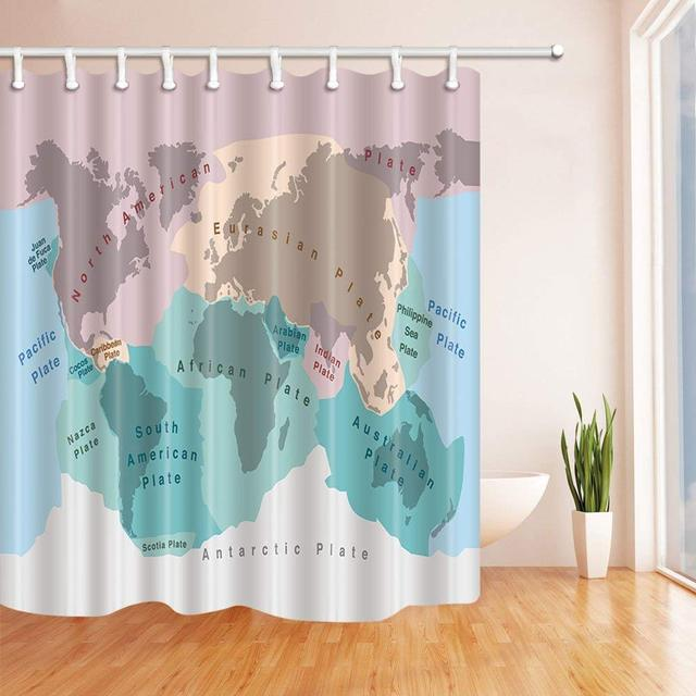 Watercolor World Map Bath Curtain Tectonic Plates Of Planet Earth Polyester Fabric Waterproof Shower For Bathroom