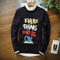 2016 Марка Повседневная мужчины Свитер Пуловеры О-Образным Вырезом Письмо каждая вещь будет ХОРОШО Печати красочные Свитера Slim Fit Мужские Пуловеры