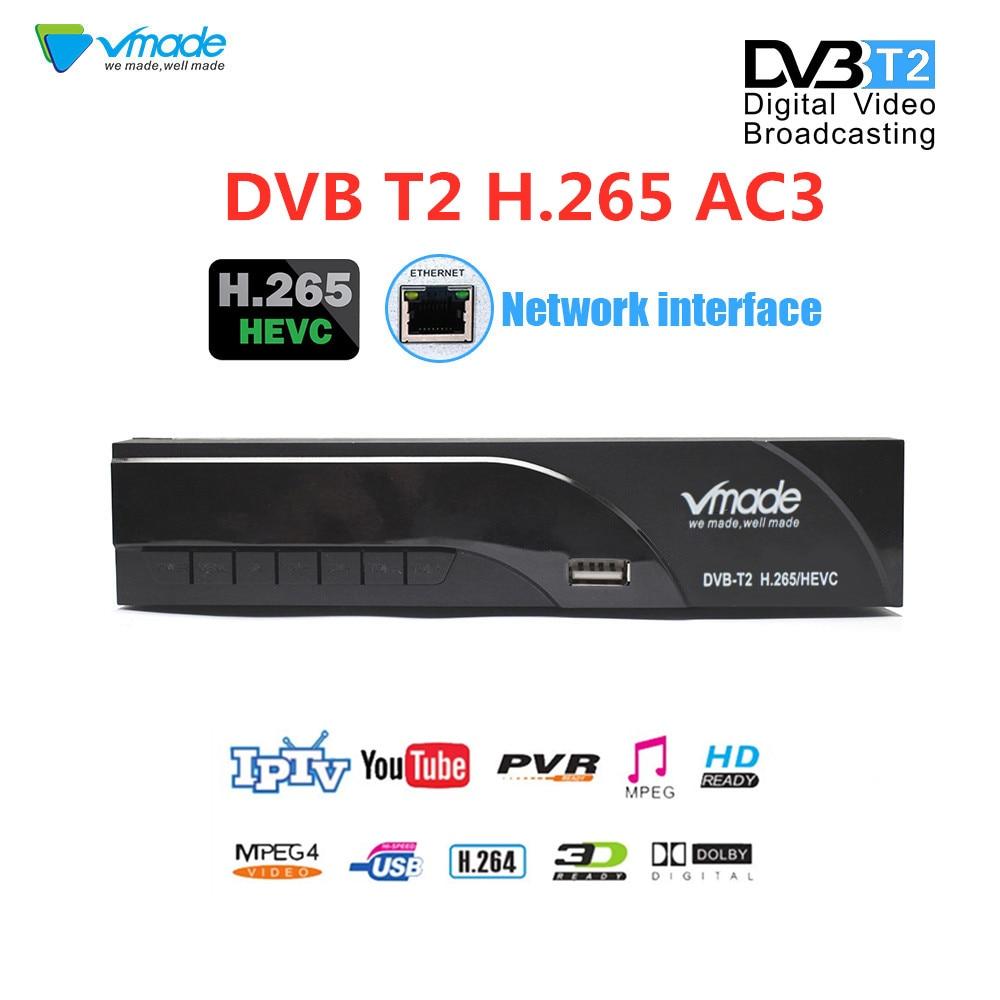 Vmade date DVB-T2 dans la boîte récepteur de télévision terrestre DVB T2 Full HD H.265 prise en charge RJ45 WIFI Dolby Youtube Megogo PVR décodeur