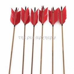 6/12/24 Pcs Griep Pijlen Traditionele Bamboe Pijl 4 Veren Fletching Voor Praktijk Gericht Jacht