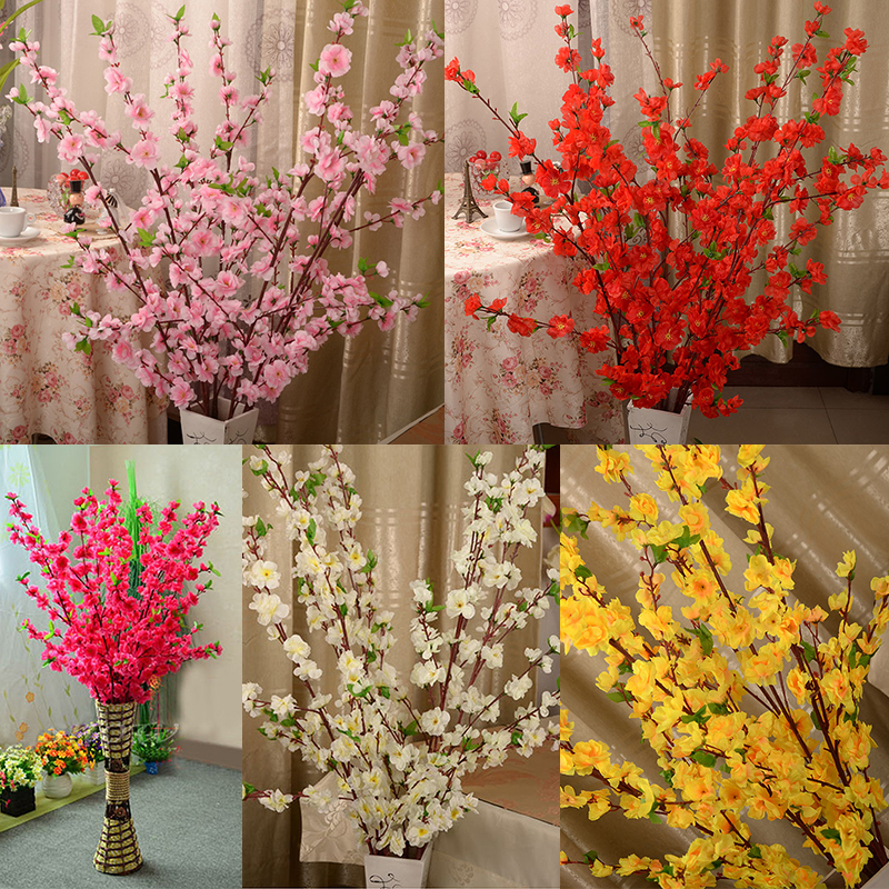 Artificial Cherry Spring Plum Peach Blossom Branch Silk Flower Cherry Tree DIY Wedding Party Decoration