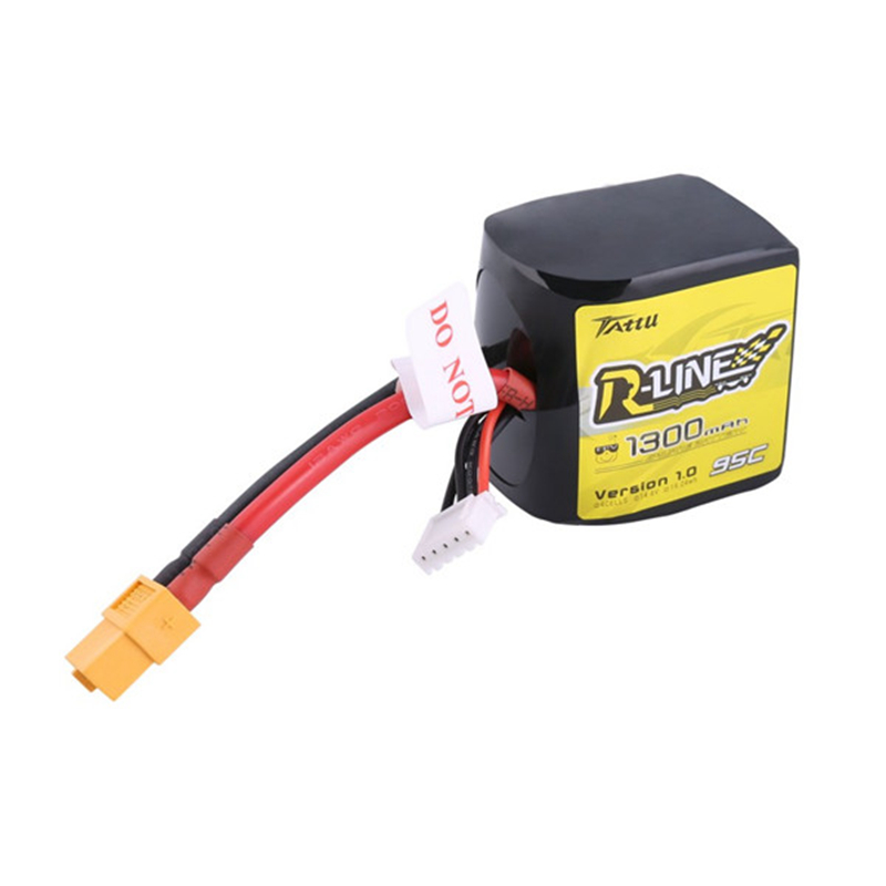 Tattu R-Line V1.0 4S 14.8V 1300mAh 95C 4S1P Square Lipo Battery with XT60 Plug for RC FPV Racing Drones Racer Drone Quadcopter
