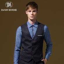 Dandy Homme High Quality 2015 Men Autumn Winter Formal Suits Vests V-Neck Slim Business Man Wedding Groom Vest New Arrival Plaid