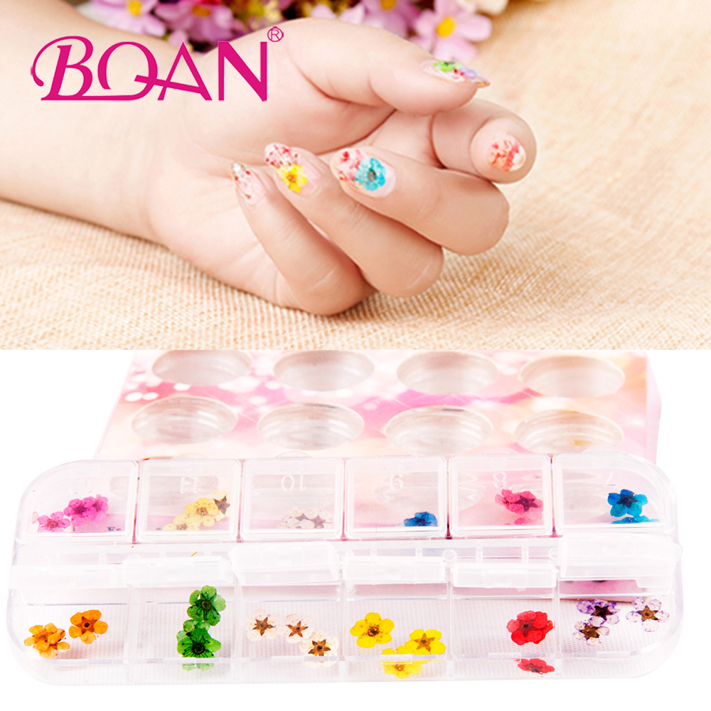 2017 New Arrival 2 Set 12 Color Dried Dry Flower Tips Nail Art Decoration Glitter DIY Decor Dried Flowers Nail Jewelry new nail art decorations maple leaves duck palm nail art glitter sequins 12box set nail tips decoration tool diy manicure 2017