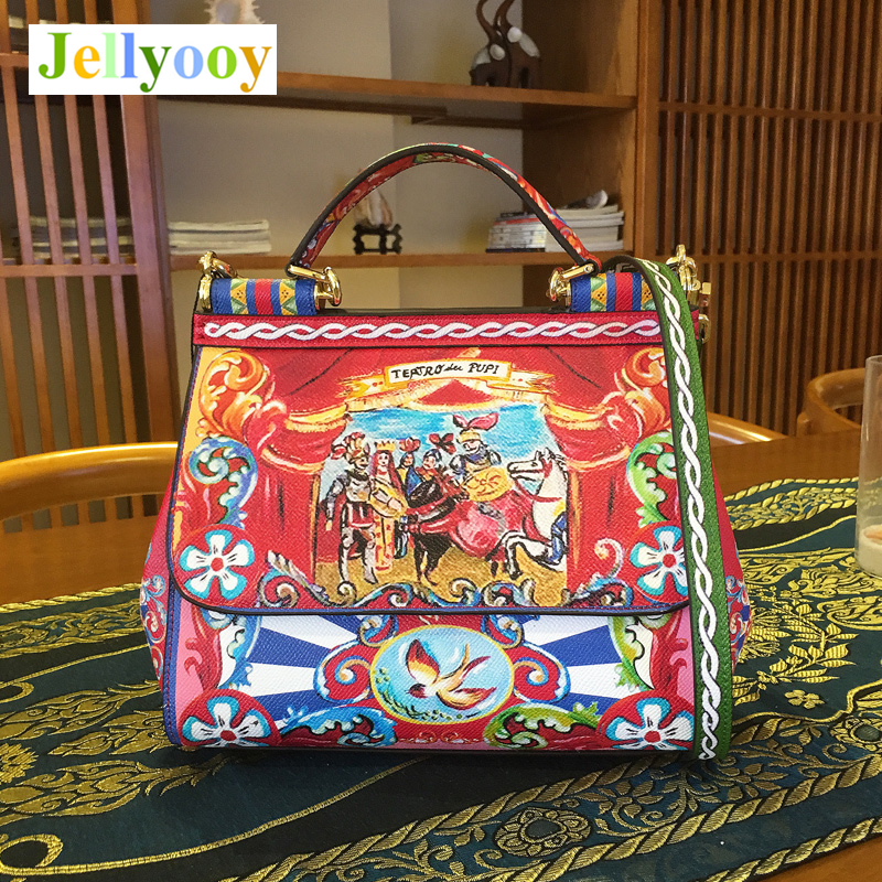 2018 Luxury Print Handbags Women Bags Designer Italy Brand Women Handbag Genuine Leather Casual Tote Lady Shoulder Messenger Bag luxury italy brand sicily ethnic bag genuine leather women casual tote platinum bags star moon print lady shoulder messenger bag