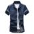 Verão de Manga Curta Denim Camisa Dos Homens sólida fina virada para baixo collar magro retro calças de brim chemise homme camisas azul Escuro dois bolso