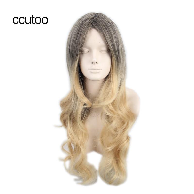 cocoș 68cm Catifea lunga din bumbac lung Ombre blonda sintetica peruca de inalta calitate Cosplay costum peruci Transport gratuit