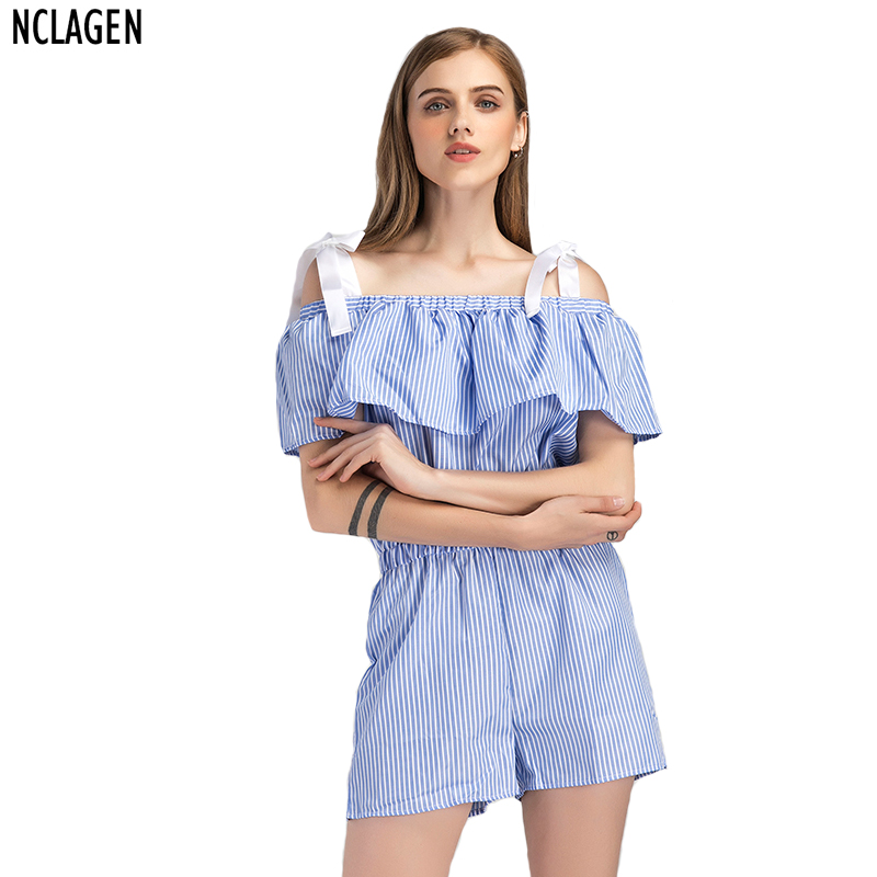 NCLAGEN Women Sexy Casual Playsuit White Stripe Regular Fit Fashion Bodysuit Slash Neck Off Shoulder Ruffle Lace-up Strap Romper ...