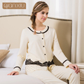 Qianxiu pajamas for women autumn new fund sale dot lace elegant pajamas suits