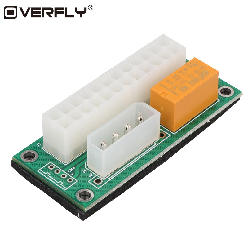 Overfly Power Supply for ATX 24Pin to Molex 4Pin Sync Synchronous Starter Extender Card Dual PSU Adapter for BTC Miner Mining anbes desktop atx 24pin dual psu power synchronizer start extender cable card adapter for bitcoin mining add2psu