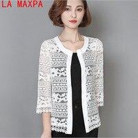 라 MaxPa 2018 새로운 봄 5XL 플러스 사이즈 워메 의류 여성 흰색 레이스 블라우스