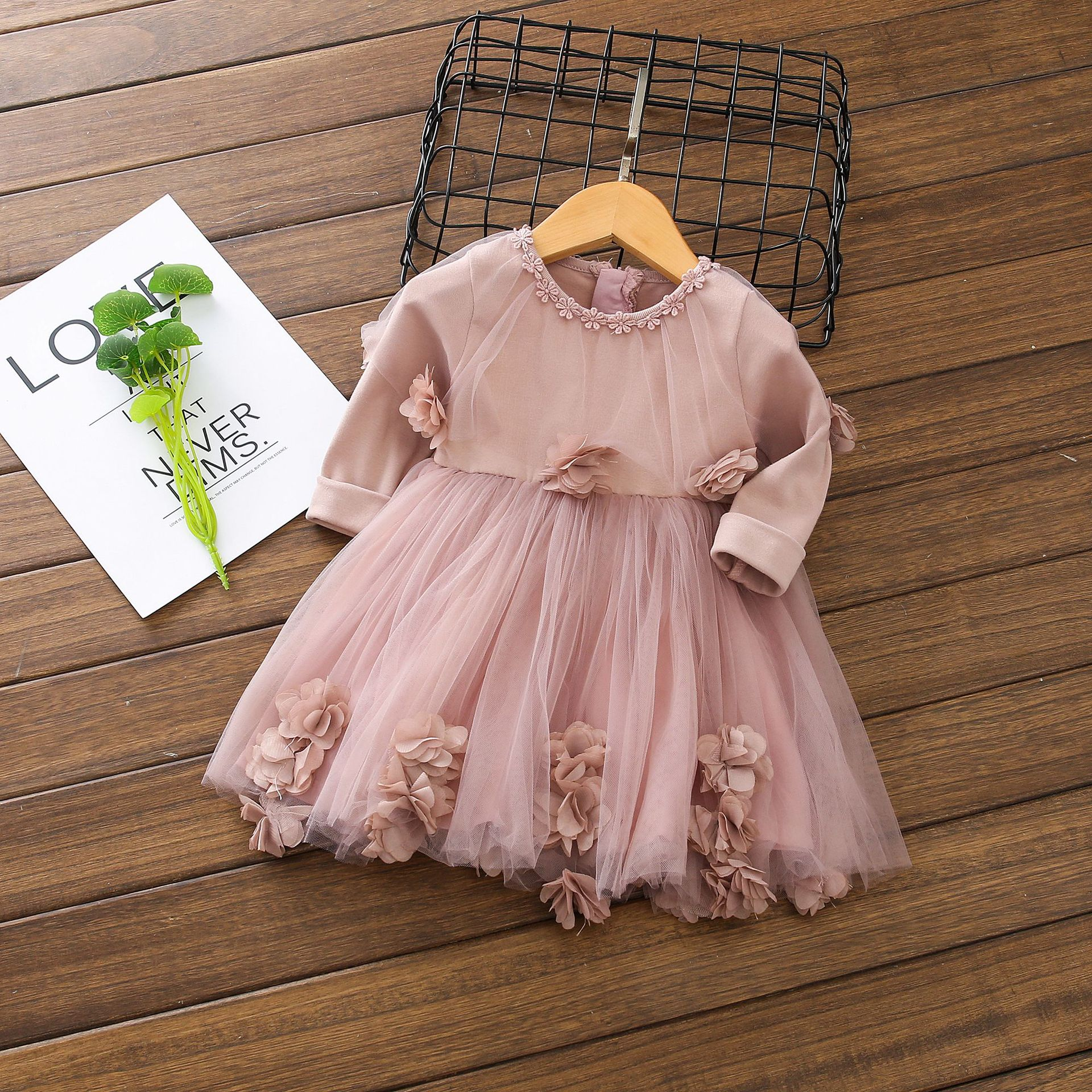 Children's Dress Girls Spring Korean 52 Flower Dresses Pink Princess Dress 1 2 3 YEARS