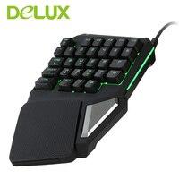 Delux bàn phím chơi game T9 Pro có dây chơi game Chuyên Nghiệp bàn phím mini 7 Màu Backlit Bàn Tay Duy Nhất 30-keys Ergonomic Bàn Phím