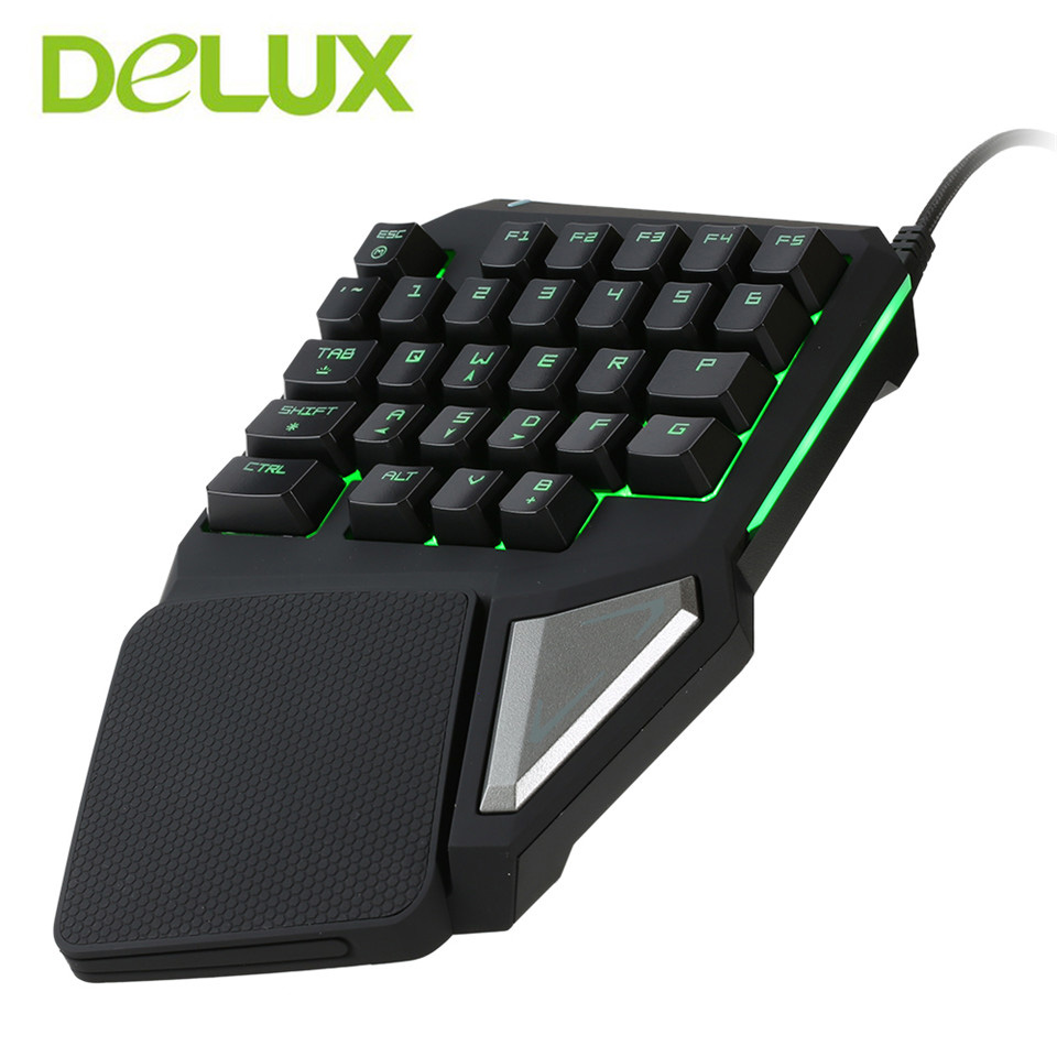 Delux  gaming keyboard T9 Pro  wired Professional gaming mini keyboard 7 Color  Backlit  Single Hand 30-keys Ergonomic Keypad delux t9 plus 29 keys programmable mechanical one single hand usb wired lol dota 2 esport gaming keyboard rgb led backlit light