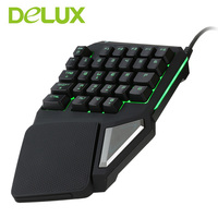 Delux Gaming Keyboard T9 Pro Wired Professional Gaming Mini Keyboard 7 Color Backlit Single Hand 30