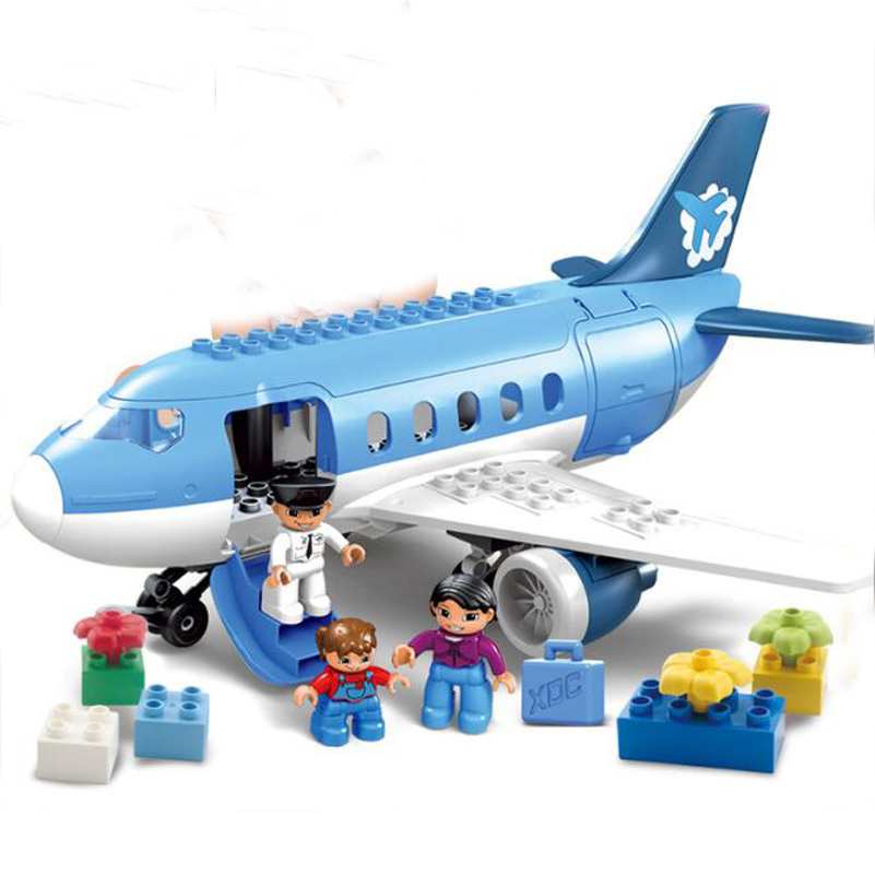 Large Particle Building Blocks Figures Passenger Plane Education Bricks Toys Brinquedos For Kids Compatible Birthday Gifts 2018 hot ninjago building blocks toys compatible legoingly ninja master wu nya mini bricks figures for kids gifts free shipping