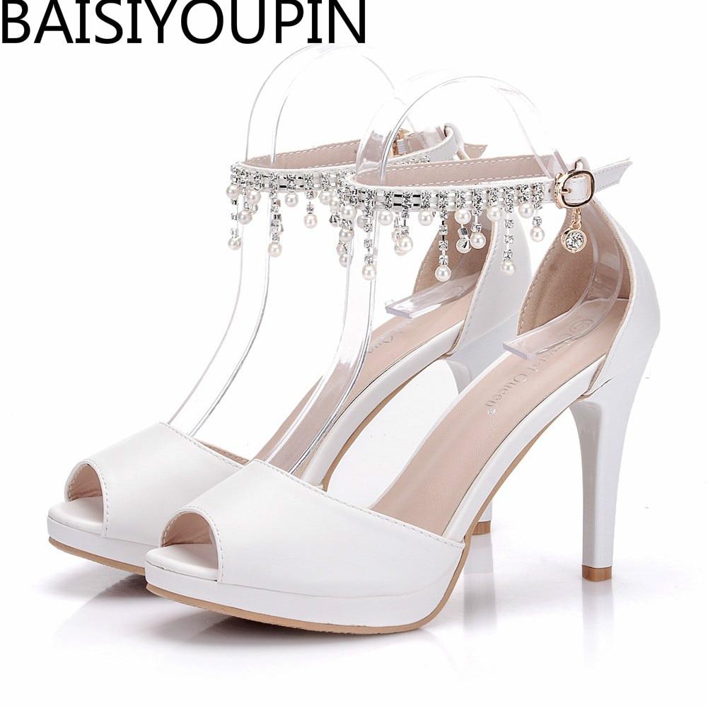Gland Sandales Bouche Mariage Grande Mariée Chaussures 40 Taille Blanc Mince 41 Femmes Femme Poissons Perles Talons De Haute Fille Diamant 0qxwZC