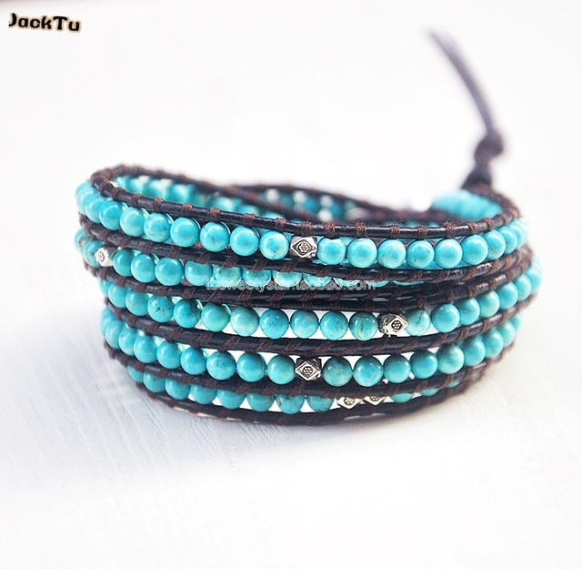 4mm turquoise silver parts multi wrap bracelet leather