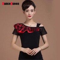 2018新しいファッションレディー社交ダンストップスnoスカートための女性ミルクシルク赤黒ドット標準社交ドレススーツ服シャツ
