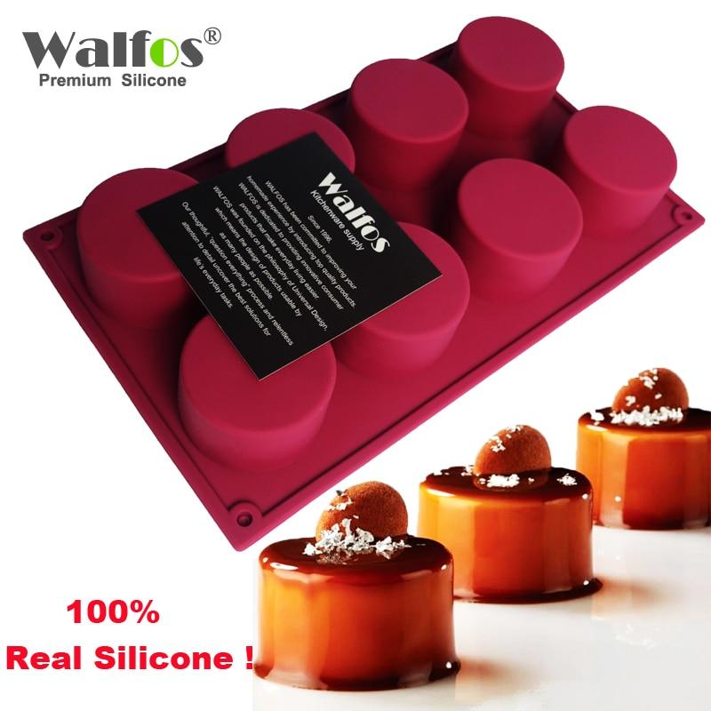 WALFOS 1 Pc 8 vrima në formë rrumbullake me formë ëmbëlsire silikoni 3D Forma të bëra me dorë 3D Cupcake Jelly Pudding Cookie Mini Muffin Sapun Mjete pjekje
