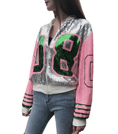 Модное женское пальто блестками куртка-бомбер с длинным рукавом на молнии уличная одежда Повседневная Туника блестящая верхняя одежда для женщин - Цвет: Серебристый