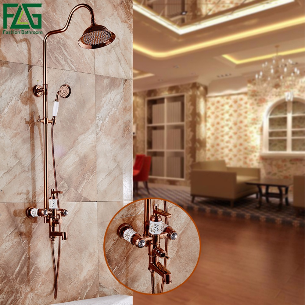 Luxury Rainfall Shower Faucets Set Wall Mounted Tub Shower Mixer Tap Bathroom Faucet With Shower And Faucet For shower Rose Gold thermostatic triple shower panel handles bathroom faucet wall mounted shower faucets with tub filler mixer tap