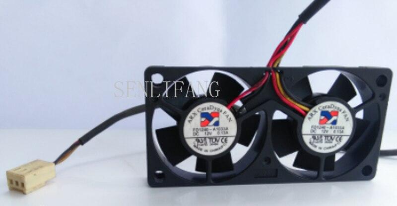 Free Shipping Original FD1240-A1033A 12V 0.13A Dual Fan Mute Cooling Fan