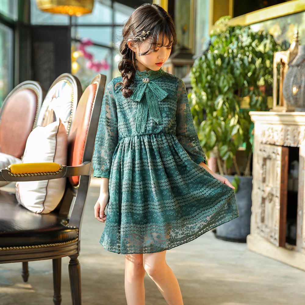 High Quality Girls Dress 2018 Casual Long Sleeves LaceMesh Kids Dresses for Girl Summer Party Clothing Cute Princess Dress CC660 uoipae girl party dress 2018 casual
