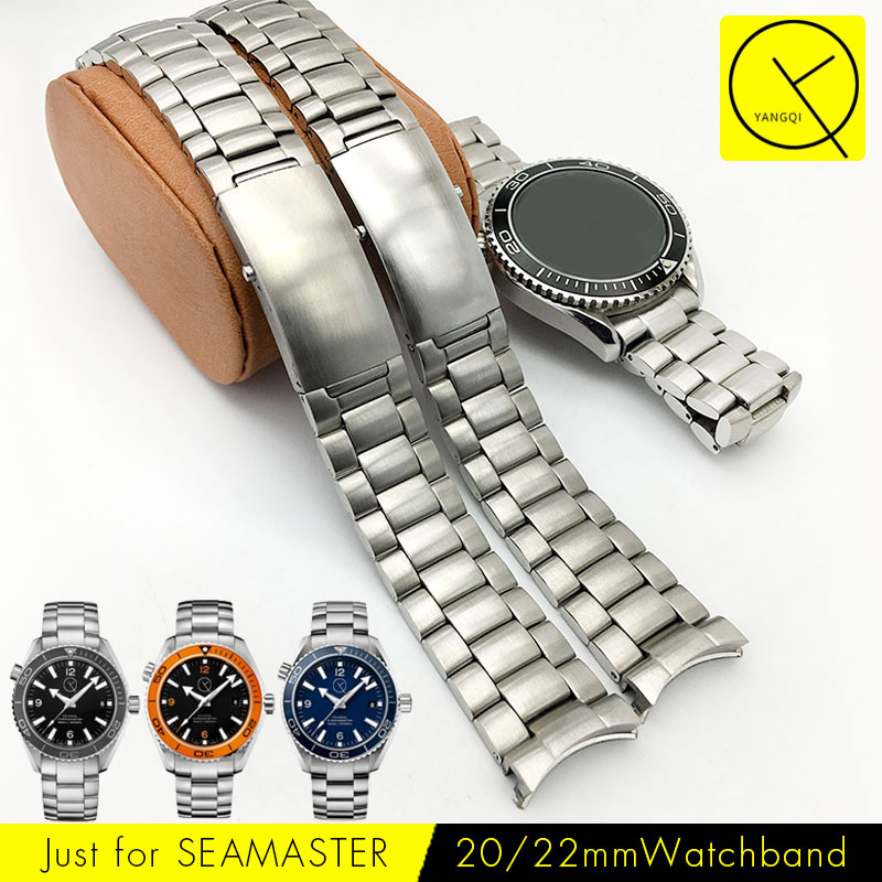 лучшая цена Solid Stainless Steel Watchband 20mm 22mm Curved End Watch Bracelet for Omega Watch Seamaster Planet Ocean Watchband Man Silver