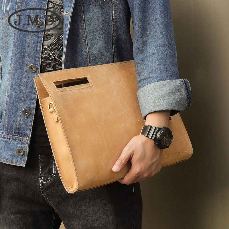 J.M.D New Business Bag Crazy Horse Leather Men's Fashion Tide Messenger Bag A5 A4 File Bag Briefcase 0011