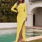 Sibybo Side Split Backless Sexy Long Dress Party Autumn Long Sleeve Straight Maxi Dresses for Women Elegant Women Party Dress