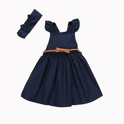 Helen115 Princess Kid Baby Girls Lovely Dark Blue Sleeveless Leak Back Dresses+Headband 3-8Years