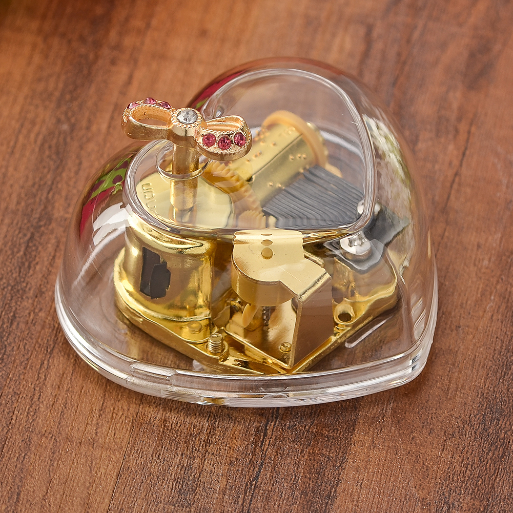 Newest Transparent Acrylic Music Box Gold Wind Up Music Boxs Gift Castle In The Sky Happy Birthday Creative Gift Home Decor