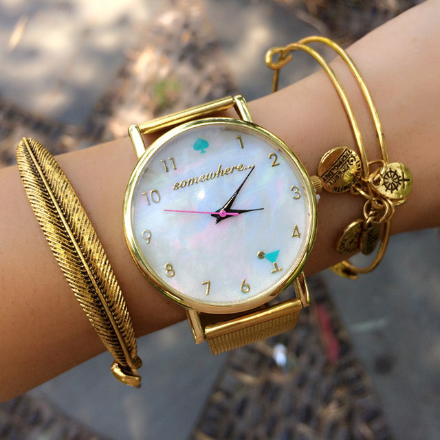 2015 Newest Mother Of Pearl Dial Watch Somewhere Watches For Ladies Women Arabic