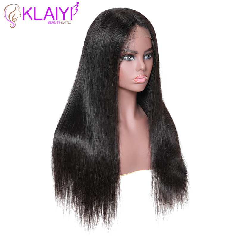 Klaiyi Hair Straight Remy Hair 13*6 Inch Lace Front Wigs Human Hair Wigs With Baby Hair Natural 12