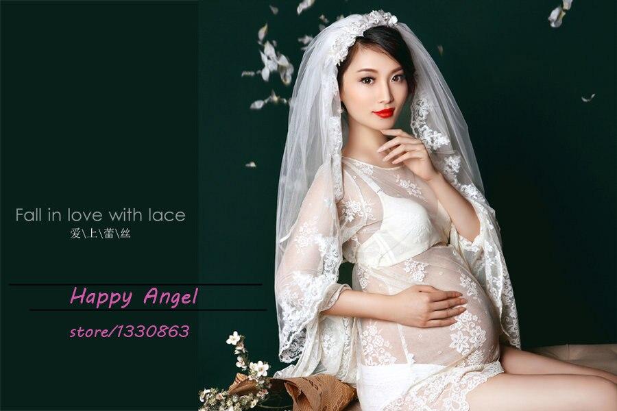 ФОТО New Maternity pregnant women Photography Props Chiffon Dress Pregnancy Pure white Romantic clothing set Free shipping